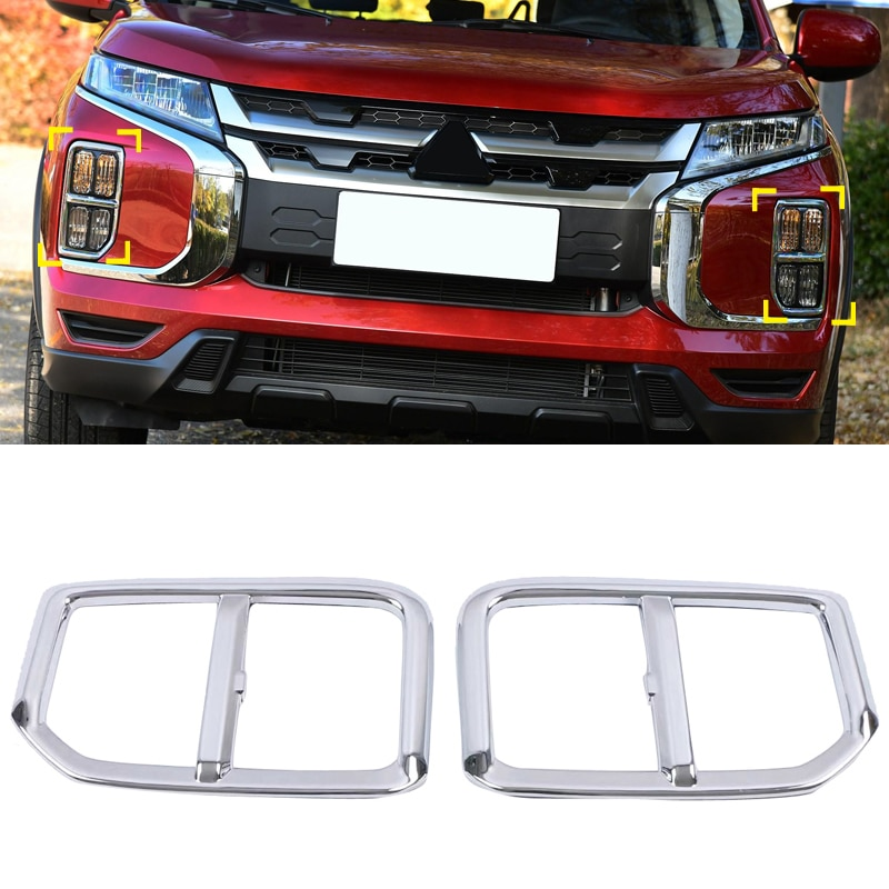 Car Styling Accessories For Mitsubishi ASX Outlander Sport RVR 2020 Chrome Front Fog Light Cover Trim 2pcs