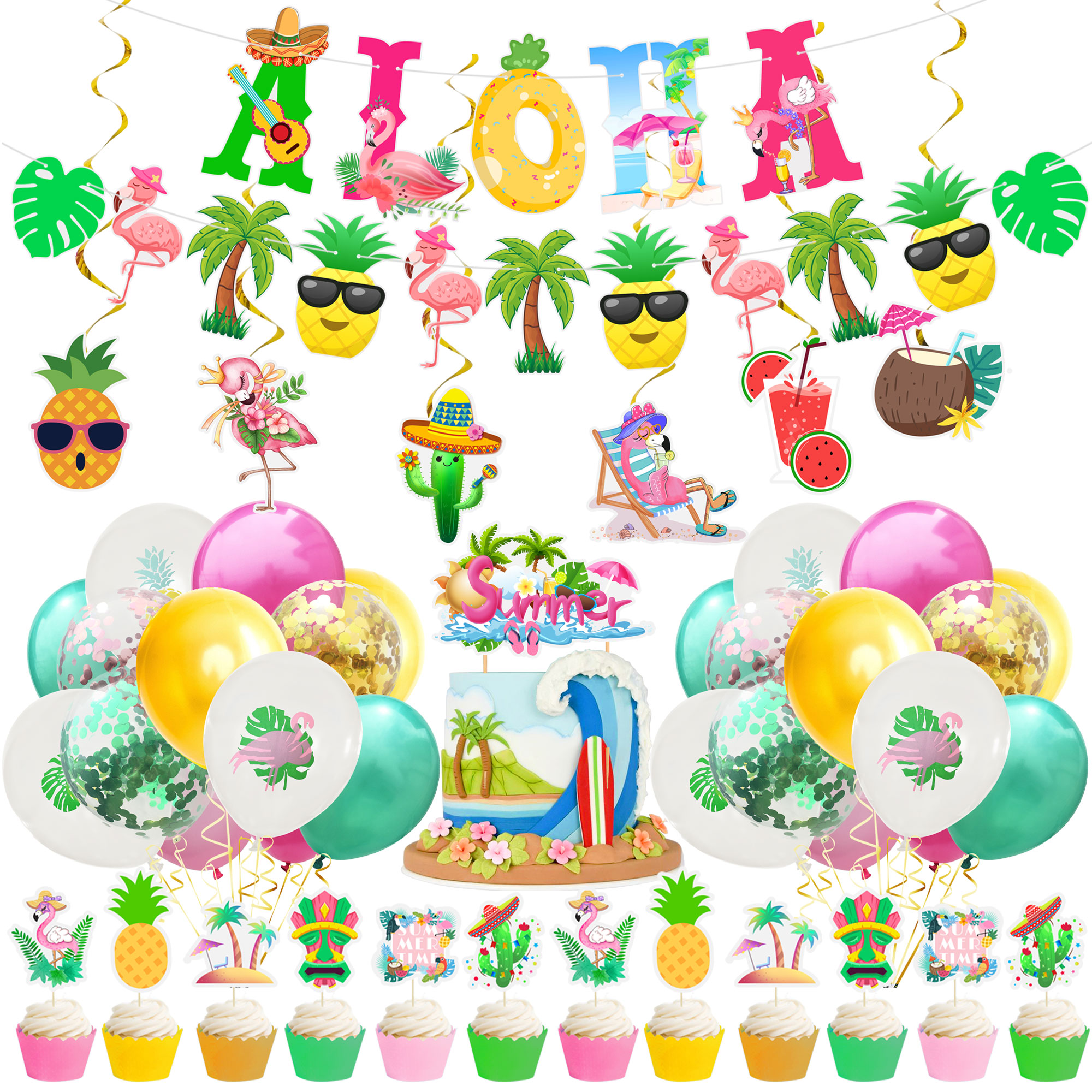 ALOHA Happy Birthday Banner Flamingo Hawaiian Tropical Party Decor Holiday Summer Party Luau Aloha P