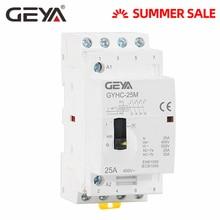 Free Shipping GEYA Manual Contactor 4P 16A 20A 25A 4NO 220V 50/60HZ Din rail Household AC Modular Contactor