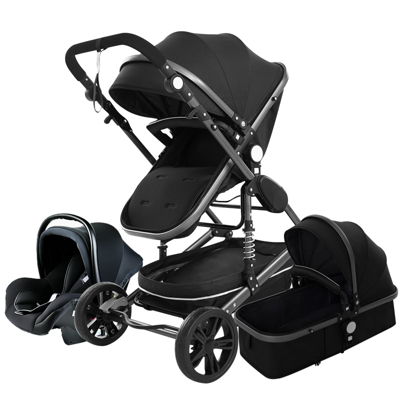 High Landscape Baby Stroller 3 in 1 Pink Stroller Luxury Travel Pram Baby Pushchair Carriage Car seat and Stroller Trolley
