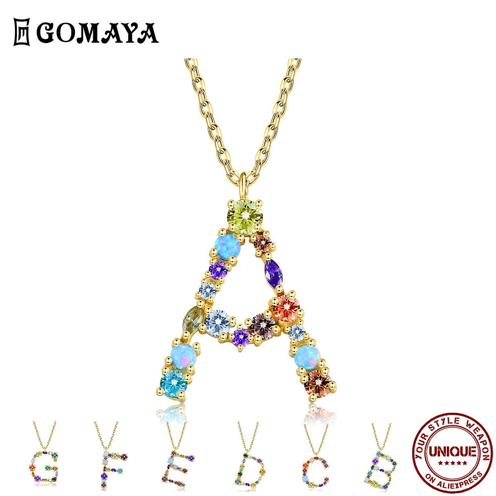 GOMAYA 26 Letters Romantic Pendant Necklaces For Women Color Cubic Zirconia Anniversary Necklace Fashion Jewelry New Listing