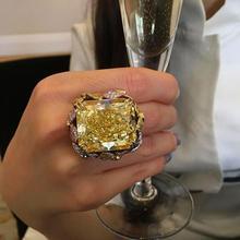 Magnifique couleur or couleur bague de fête mode femme grand jaune Zircon pierre bague promesse fiançailles anneaux de mariage pour les femmes