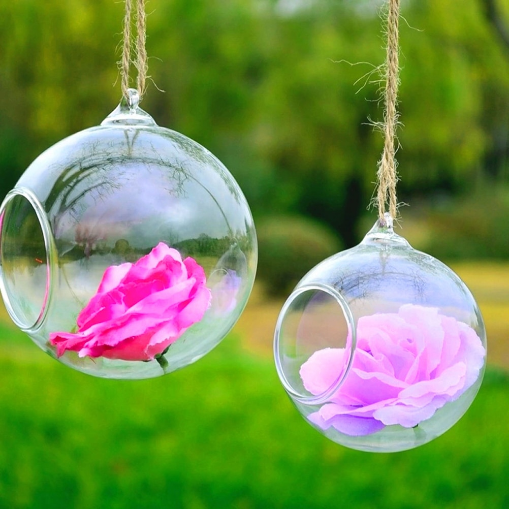 8/10/12cm Home Decor Clear Wall Hanging Glass Vase Terrarium Plants Flower Hydroponic Micro Landscape DIY Bottle Candlestick
