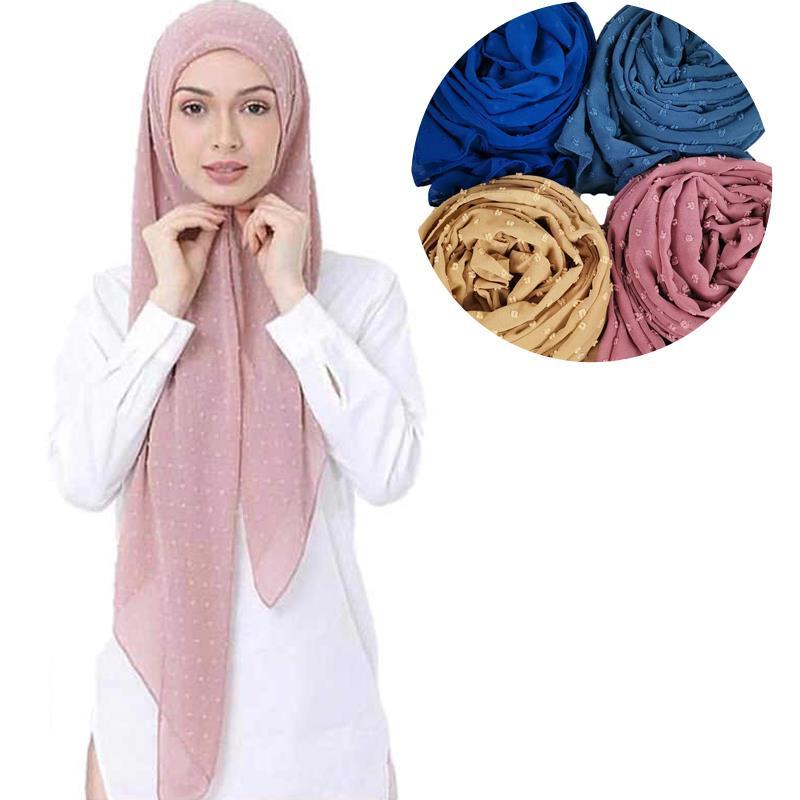 M34 50 قطعة عالية الجودة جديد بوم بوم الشيفون تصميم الحجاب وشاح شال التفاف عقال طويل المرأة وشاح/الأوشحة 180*75 سنتيمتر