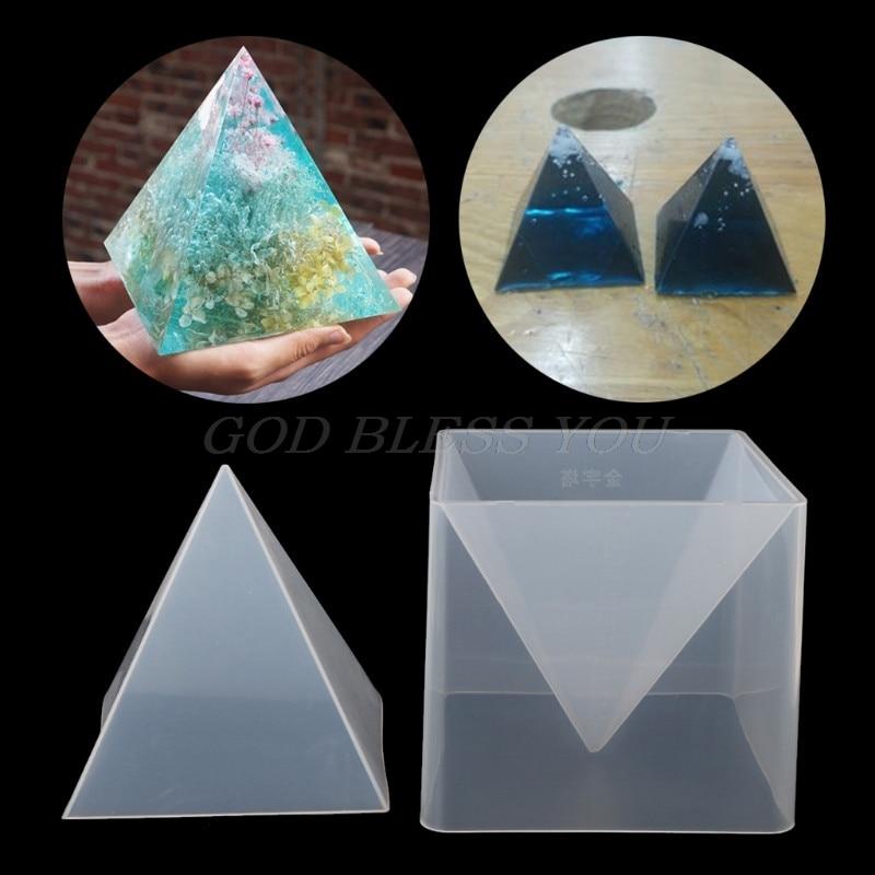 Super Pyramide Silikon Form Harz Handwerk Schmuck Kristall Form Mit Kunststoff Rahmen Drop Shipping