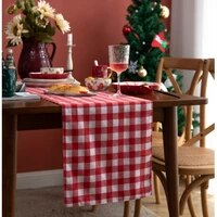 table runner christmas red plaid linen cotton restaurant table runner for dining table wedding party tablecloth christmas decor