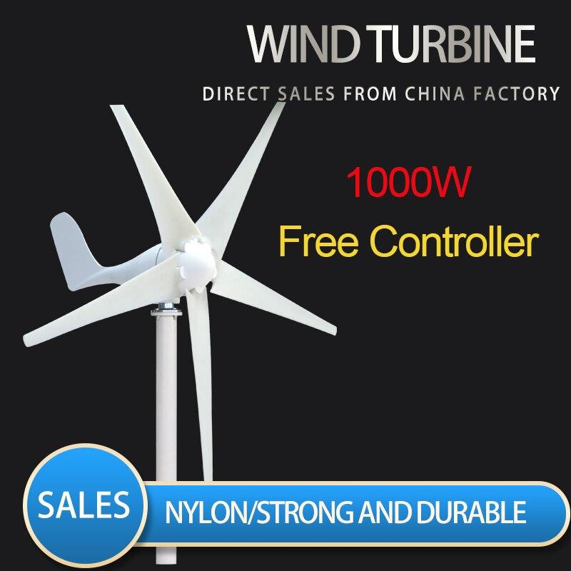2020 pequeno moinho de vento gerador de turbina eólica em casa apto para lâmpadas de rua, barco de monitoramento livre 1000w withcontroller 10 anos de garantia