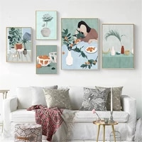 Toile dart mural Vintage pour fille  motifs de feuilles  de Fruits  de plantes  affiches dillustrations  imprimes dimages  decor nordique pour la maison
