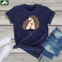 cotton kawaii hedgehugs t shirt women clothing animal lovers birthday gift funny hedgehugs graphic tee shirts unisex casual tops