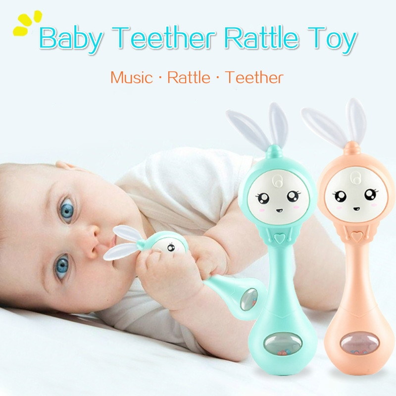 Baby Music Flashing Teether Rattle Toys Rabbit Hand Bells Mobile Infant Pacifier Weep Tear Newborn E