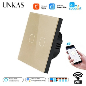 UNKAS EU Standard Tuya / Smart Life / Ewelink 2 Gang 1 Way WiFi Wall Light Touch Switch For Google Home Alexa Voice Control