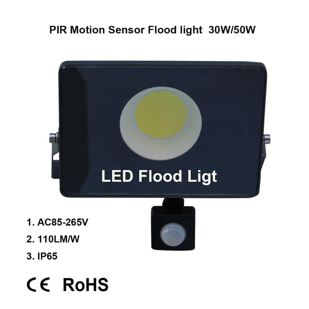 مصباح كشاف LED مقاوم للماء مع مستشعر حركة PIR ، خارجي ، 50W ، 30W ، AC 220V ، foco