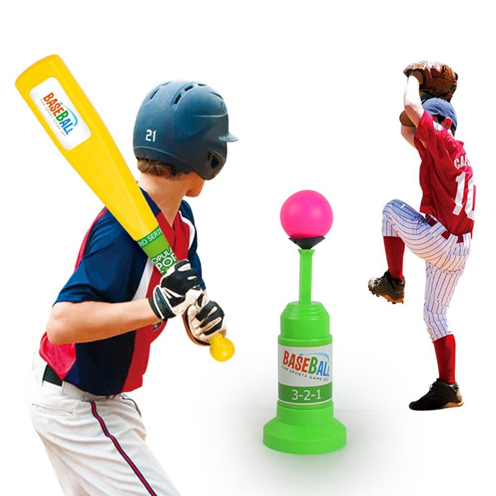 Juego de juguetes de béisbol con lanzador automático de seguridad para entrenamiento de actividades, juego deportivo para niños con murciélagos de interior, entrenamiento de Fitness, interacción entre padres e hijos