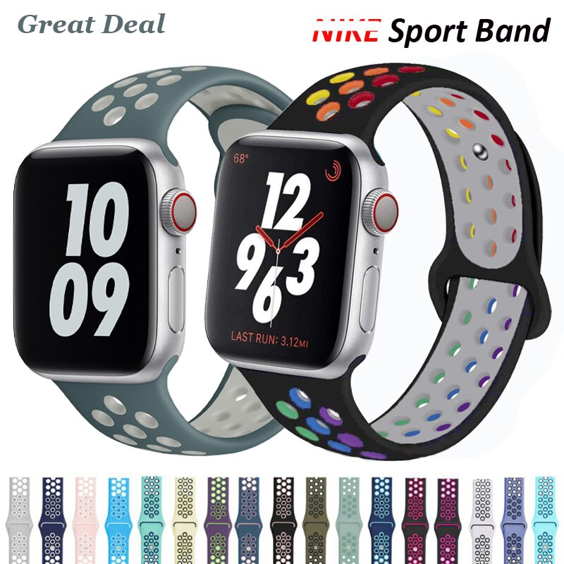 sports silicone for apple watch band 42mm 38mm 40mm 44mm smart watchbands wrist bracelet strap for i watch series 5 4 3 2 1 belt Sports Silicone Strap for Apple Watch 44mm 40mm 38mm 42mm Band Watchbands Bracelet For iWatch Serie 6 SE 5 4 3 2 1 Accessories