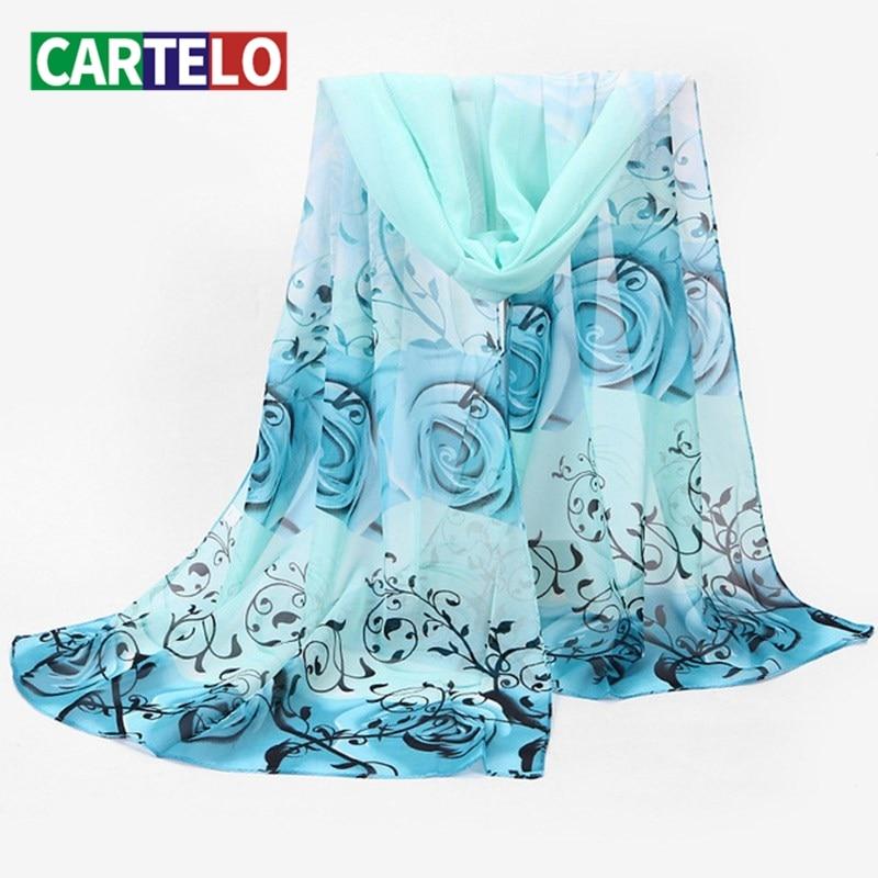 CARTELO New women silk scarf winter high quality chiffon brand design multicolor printing long