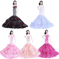 16 bjd doll dress princess mermaid vestido wedding party gown fashion fishtail off shoulder clothes for barbie accessories toy
