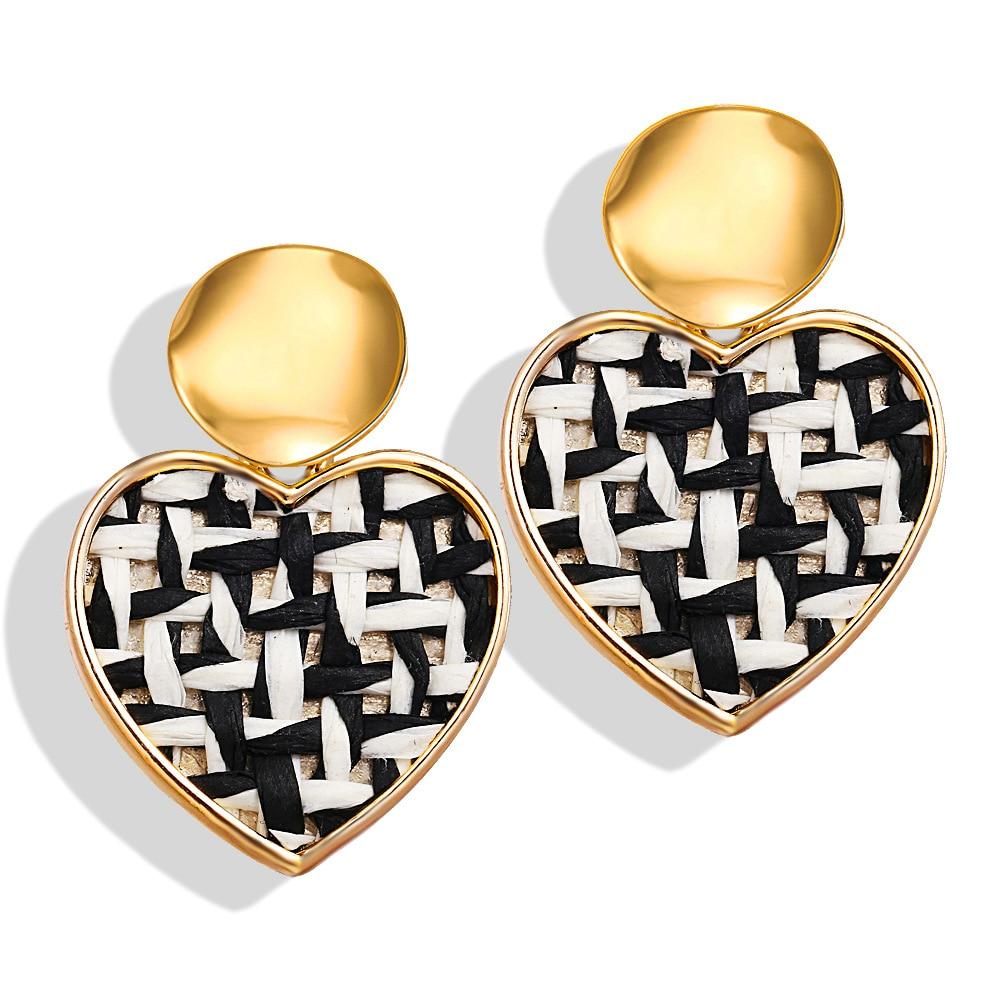 Nuevos pendientes coreanos bohemios para mujeres amantes corazón redondo oro clip pendiente grande geométrico moda oreja clip joyería al por mayor