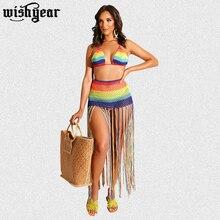 Wishyear Rainbow Hand Crochet Beach Two Piece Set Dress Halter Swimwear Bra Top Tassel Maxi Skirt Hollow Out Bohemian Dresses