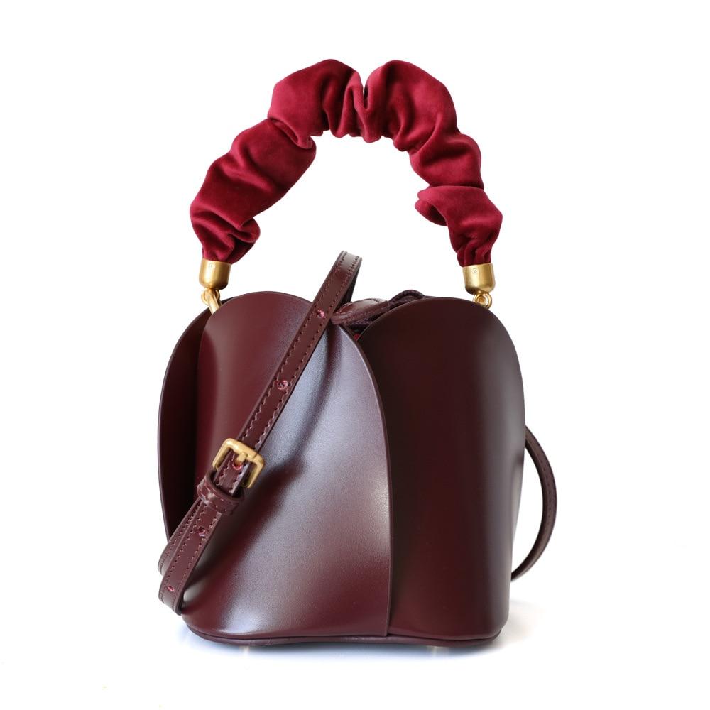 2021 Summer Genuine Leather Women Bucket Bag Wine Red Cowskin Ladies Shoulder Messenger Bags Flower Shape Handbags Small Totes