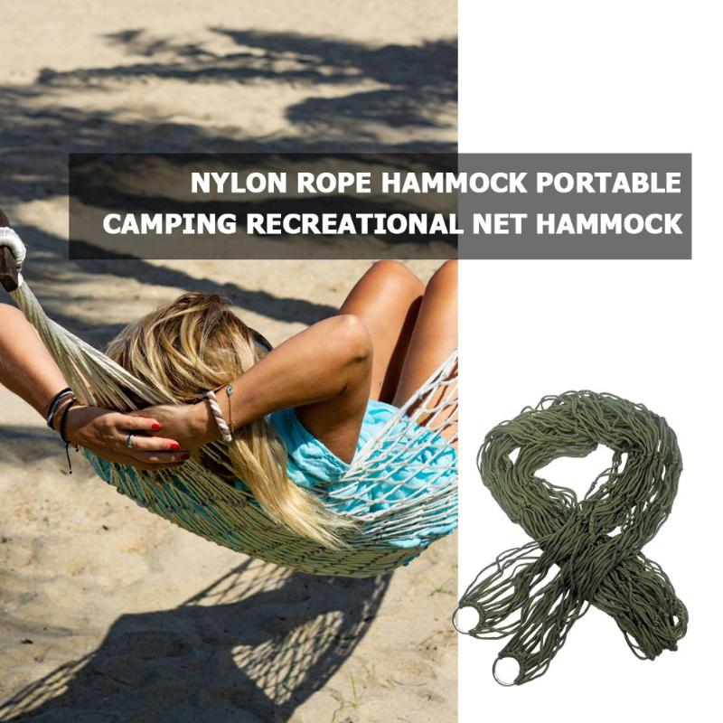 Hamaca de malla de Nylon portátil para una sola persona, hamaca colgante de red para cama, hamaca de viaje para campamento para dormir, muebles para adultos