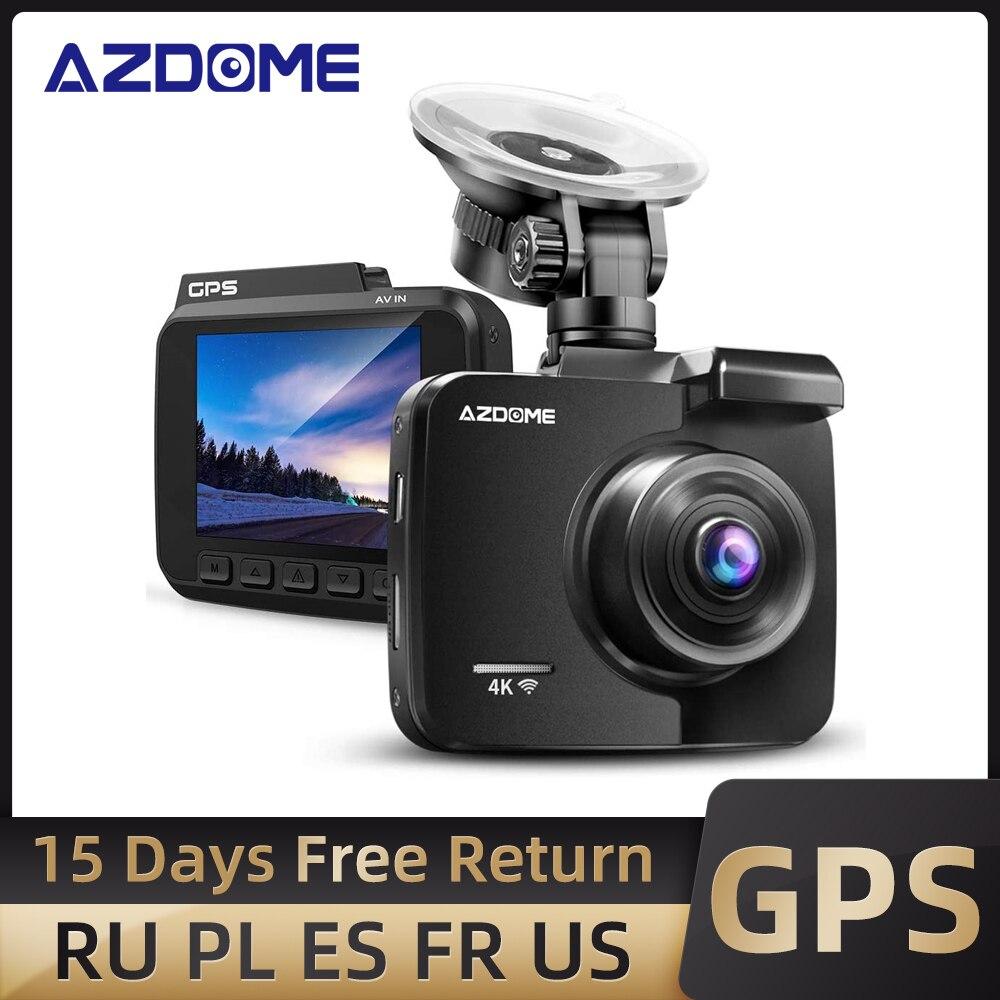 Azdomgs63h كاميرا عدادات السيارة 4K 2160P داش عدسة كاميرا مزدوجة بنيت في نظام تحديد المواقع مسجل دي في أر داشكام مع واي فاي G-الاستشعار حلقة تسجيل