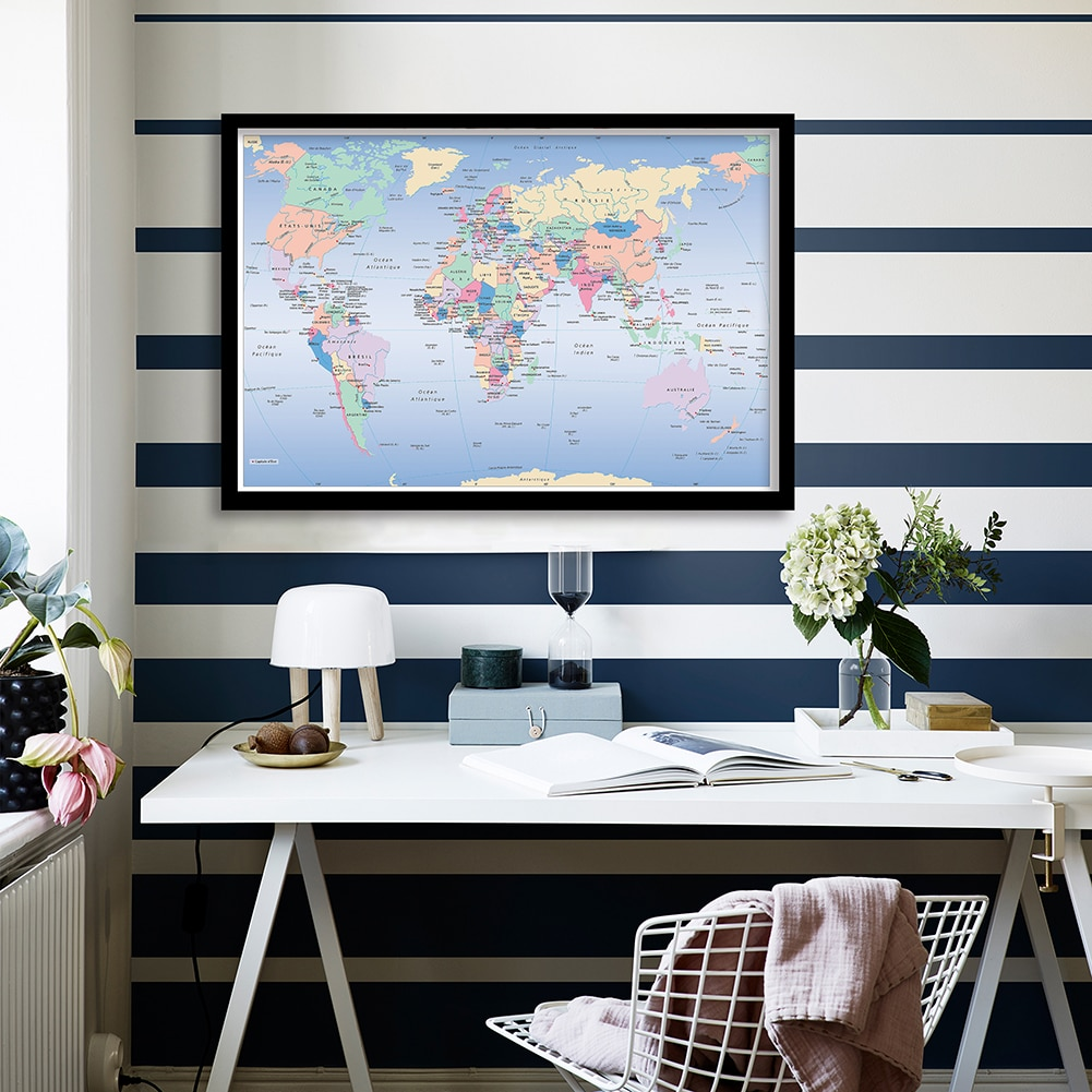 90*60 Cm The French World Map Vintage Poster Canvas Painting Wall Decor Living Room Home Decoration Children School Supplies