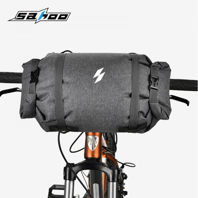 SAHOO bolso de bicicleta reflectante manillar de bicicleta de carretera MTB bolso Bolsa de tubo superior frontal bolsa de ciclismo bolsa de cierre Roll-up 5L