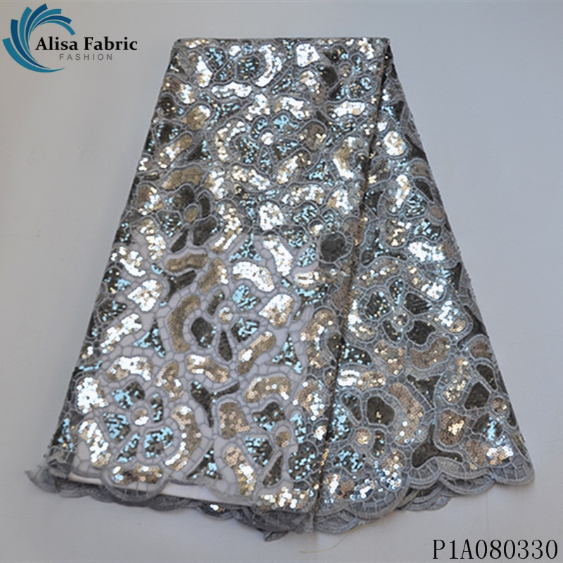 Tela de encaje de lentejuelas francesas de malla Africana gris plateado de Alisa, tela de encaje de tul nigeriano bordado de alta calidad 2020, 5 yardas/Uds