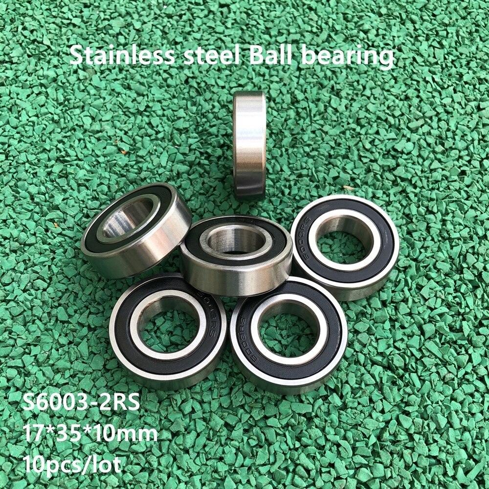 10 قطعة/الوحدة ABEC-5 S6003-2RS S6003RS الفولاذ المقاوم للصدأ 17*35*10mm كرة أخدود عميقة تحمل مزدوجة غطاء مطاطي 17 × 35 × 10 mm