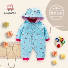 Female baby pure cotton hatsuit newborn baby spring and autumn bodysuit open file climbing clothes o