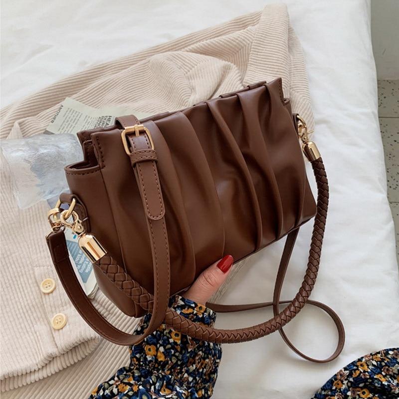 FUNMARDI New Arrival PU Leather Shoulder Bag Pleated Women Clutch Bags Fashion Crossbody Bag Top Quality Handbag Ladies WLHB2407