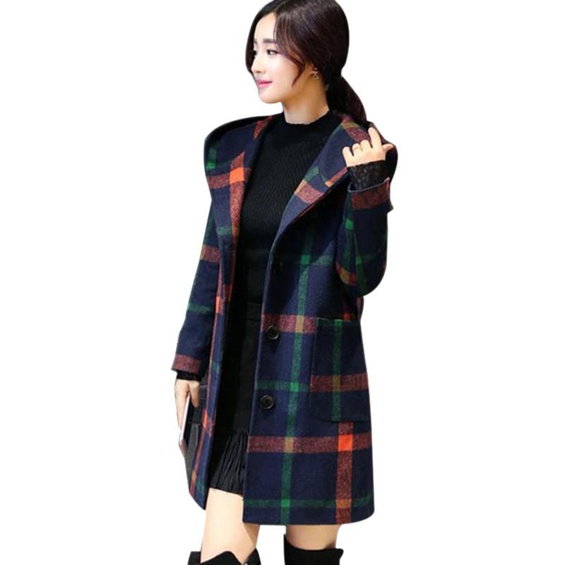 Winter Coat Women British College Style New Fashion Plaid Inha Hooded Mid-long Woolen Coat Plaid Coat Abrigos*