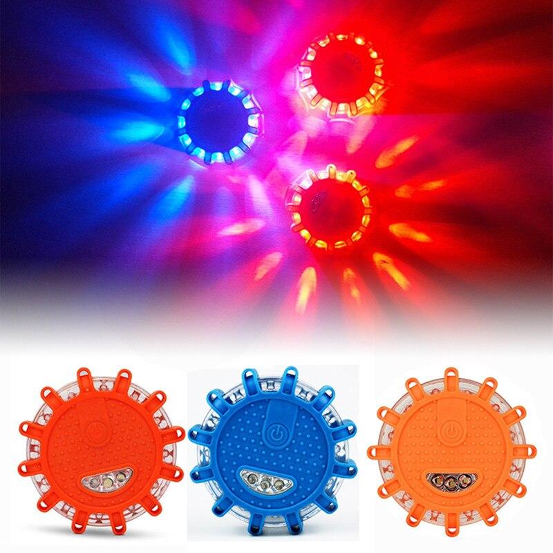 Luz Led roja y azul para policía y carretera, luces Led de emergencia para coche, luces de advertencia nocturnas, faro para carretera con disco