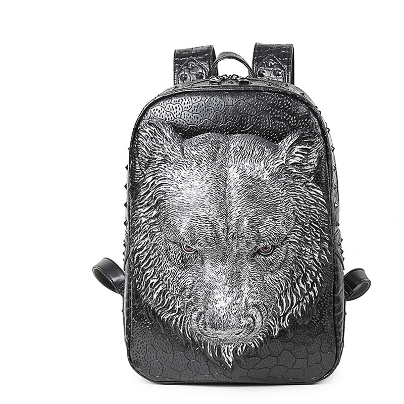 GAMPORL 2021 New PU Leather Fashion Rivet Backpack Black Unisex Shoulder Bag Wolf Head Animal Outdoor Travel Computer Backpack institute 2016 original rivet double shoulder the new tide leisure backpack fashion wind weave backpack travel