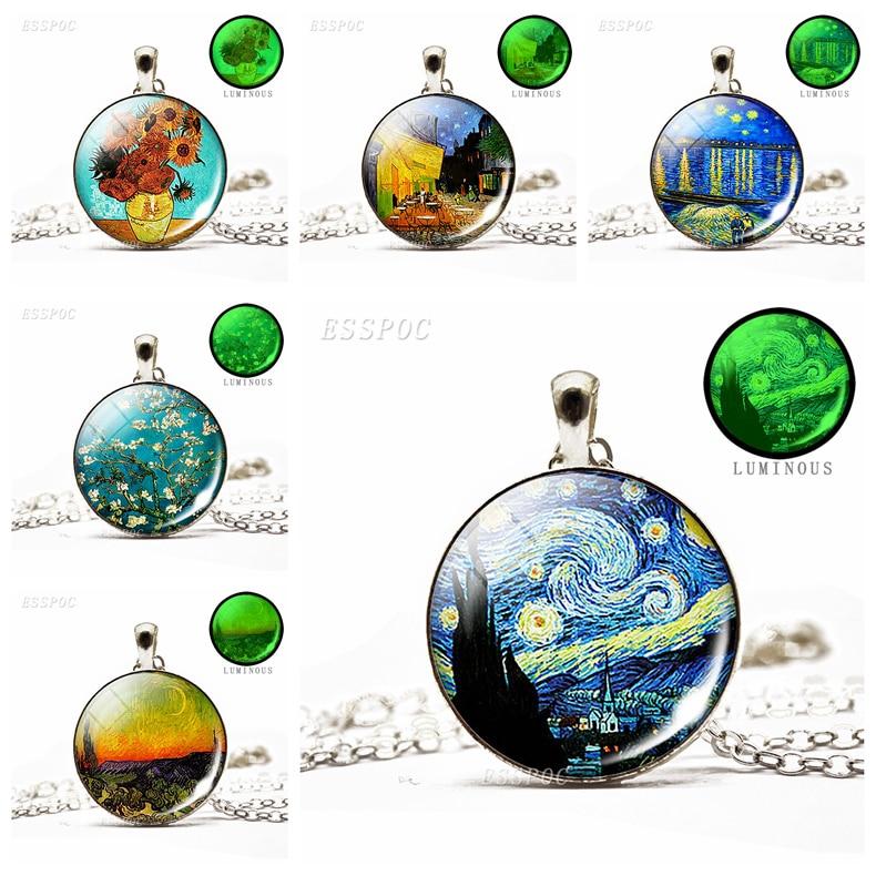 Acessórios artesanais de vidro cabochão cúpula van gogh estrelado noite pingente luminoso colar arte imagem jóias presente aniversário