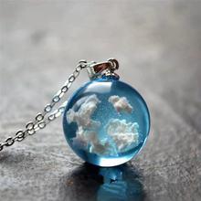 Leucht Blauen Himmel Weißen Wolke Harz Transparent Halskette Damen Anhänger Kette Halskette Für Frauen Schmuck Geschenk Mujer Moda