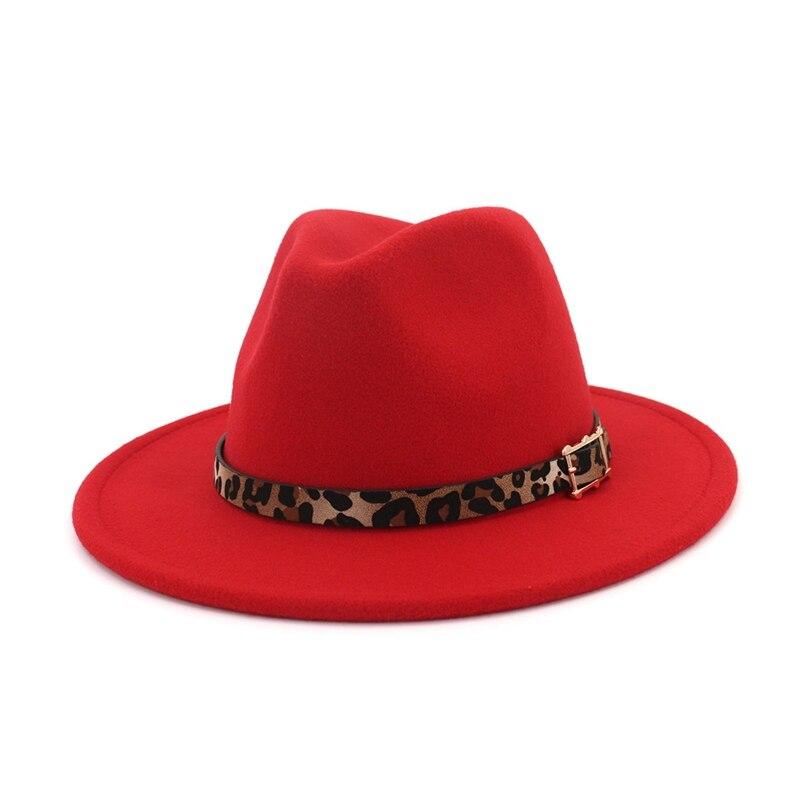 Sombrero de fieltro de Nuevo rojo de moda de ala ancha con cinturón de leopardo, sombrero de Jazz sencillo ajustable informal de otoño e invierno, gorra de mujer