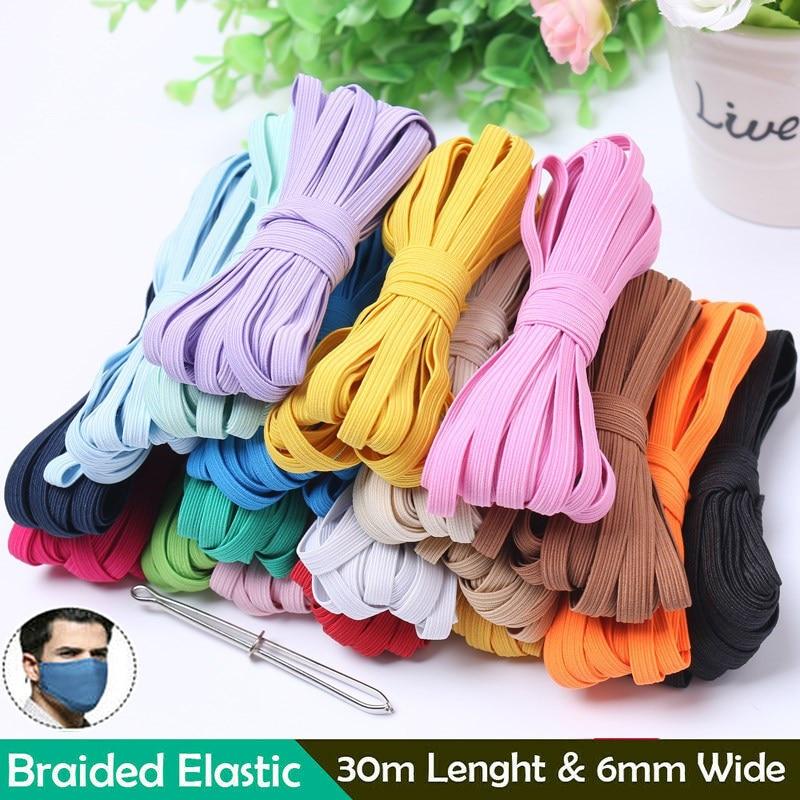 Bandas Elásticas planas de colores de 33 yardas, bandas de goma de alta elasticidad, cinta de Spandex, cinta de costura, banda de cinturón de cintura, mascarilla para colgar en la oreja