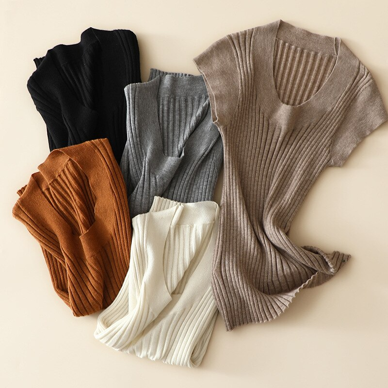 SHUCHAN 100% Cashmere Sweaters for Women Regular O-Neck Office Lady Summer Womens Knit Pullover Autumn Fashion Cute enlarge