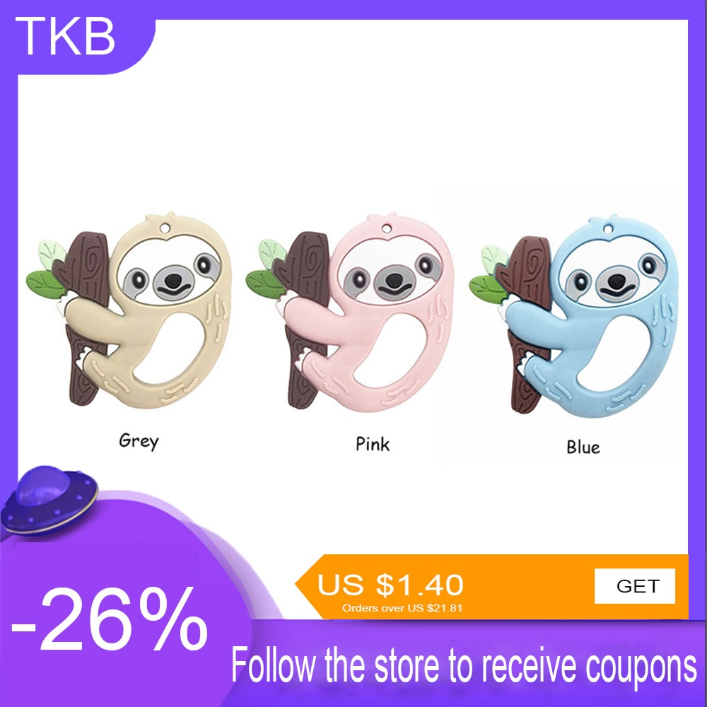 TKB Baby Toys 10pcs Silicone Teethers Health Bpa Free Pacifier Nipples Sloth Rattles Babies Accessories Newborn For Teeth Care