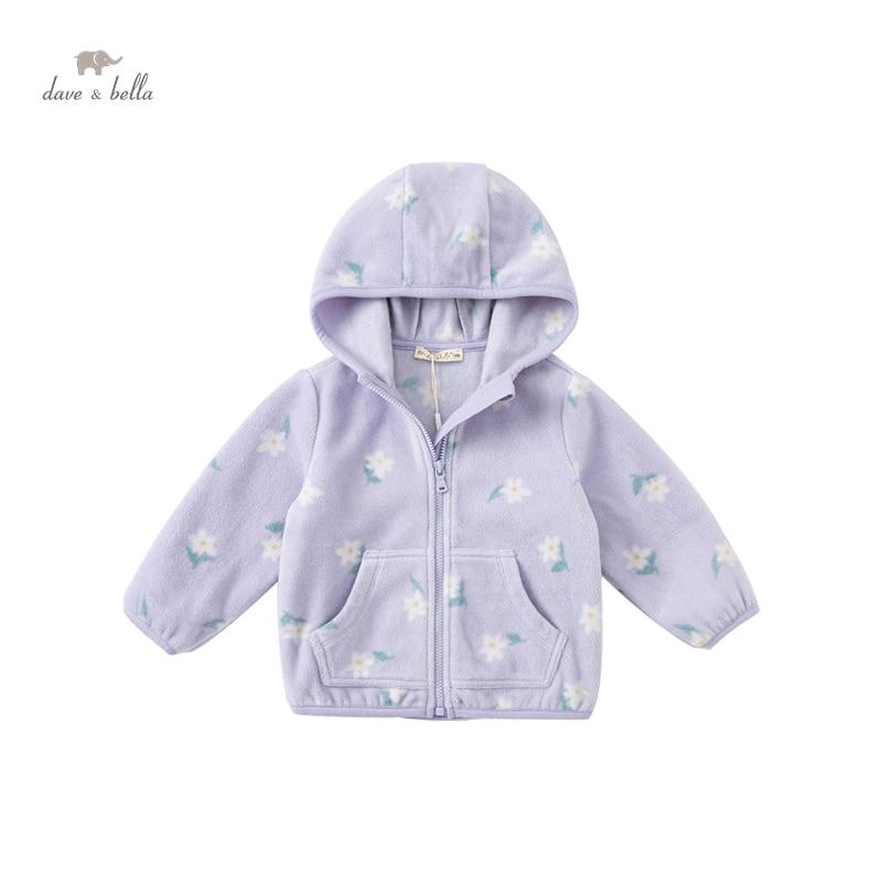 DBJ20439 dave bella autumn baby unisex fashion cartoon print hooded pockets coat children tops infan
