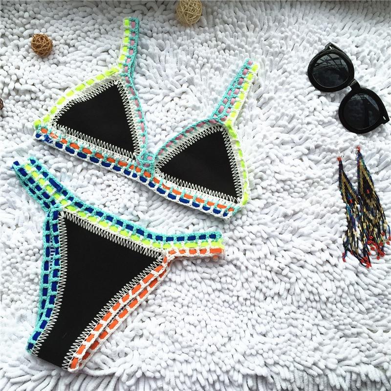 Micro Bikini 2019 mujer Crochet hecho a mano bañador de punto Halter Patchwork traje de baño Bikini Tanga Bikini traje de baño