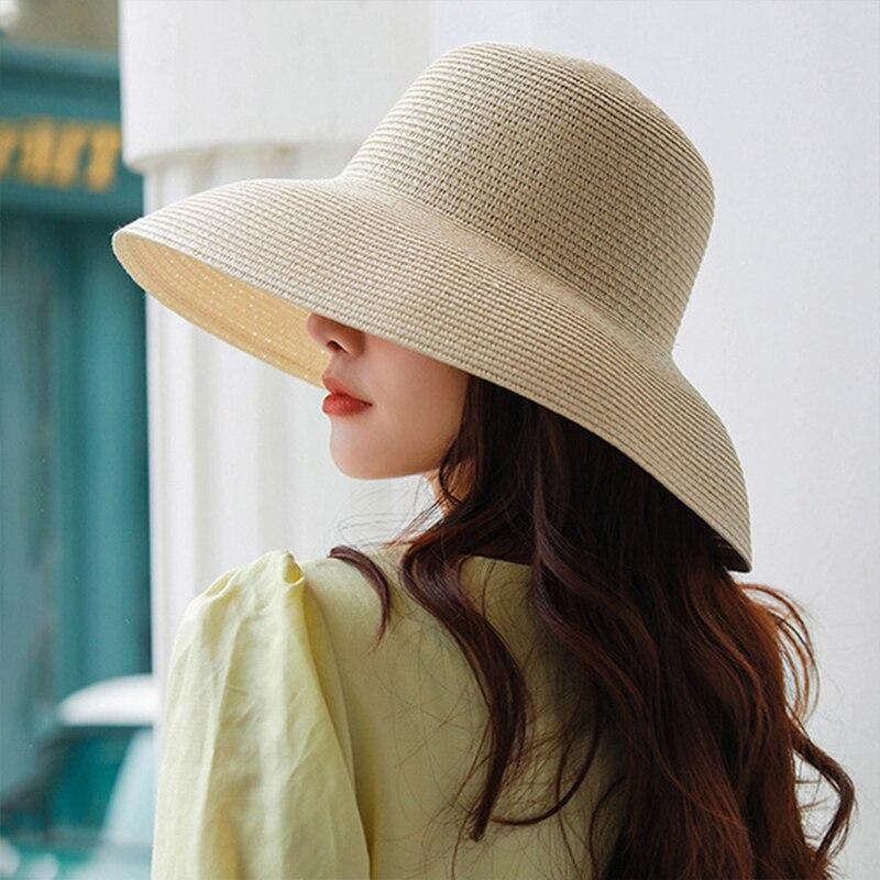 Hepburn été soleil chapeau dame solide plaine élégant grand Large bord chapeau rond haut crème solaire disquette paille plage chapeau Panama chapeau