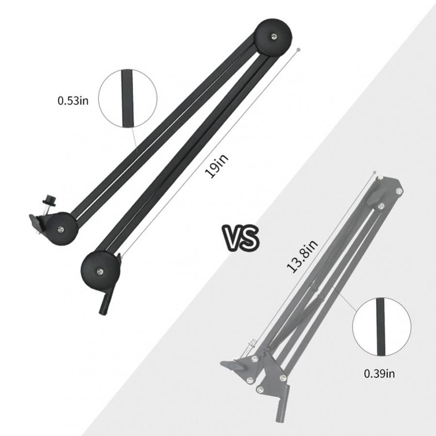 Microphone Boom Arm Stand Heavy Duty Cantilever Bracket Tripod Adjustable Suspension Scissor Spring Built-in Mic Stand for Live