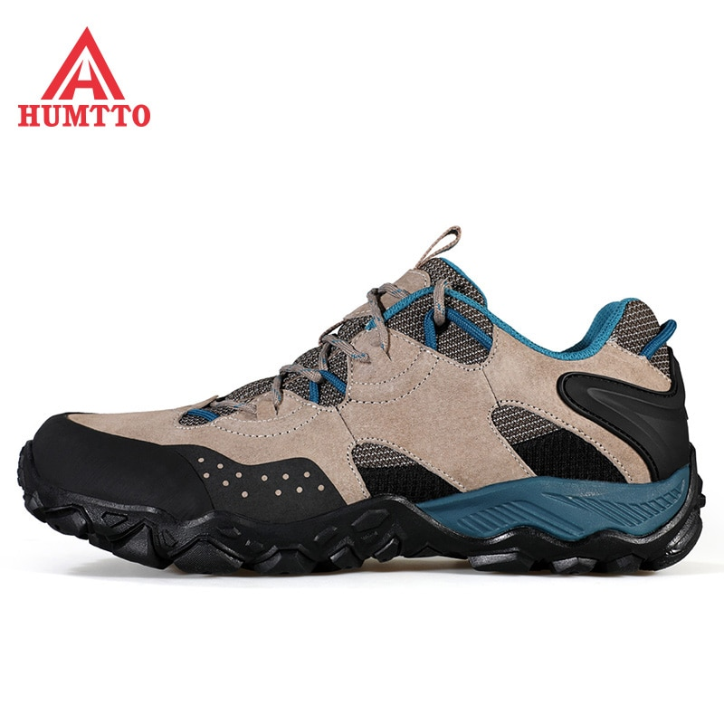 HUMTTO New Waterproor Hiking Shoes Mens Genuine Leather Mountain Boots Outdoor Trekking Shoes Climbing Boots Walking Sneakers