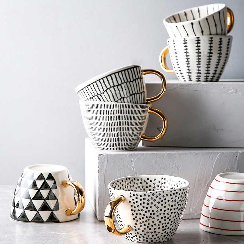 الإبداعية هندسية السيراميك أكواب مع مقبض الذهب اليدوية أكواب القهوة غير النظامية شكل الشاي الحليب القدح كوب هدايا فريدة ديكور المنزل