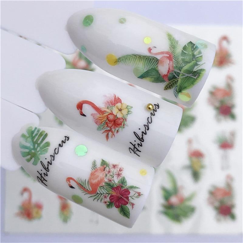 1 stücke Nagel Aufkleber Wasser Transfer Aufkleber Cartoon Flamingo Nette Tier Designs Nail art Slider Maniküre Dekoration