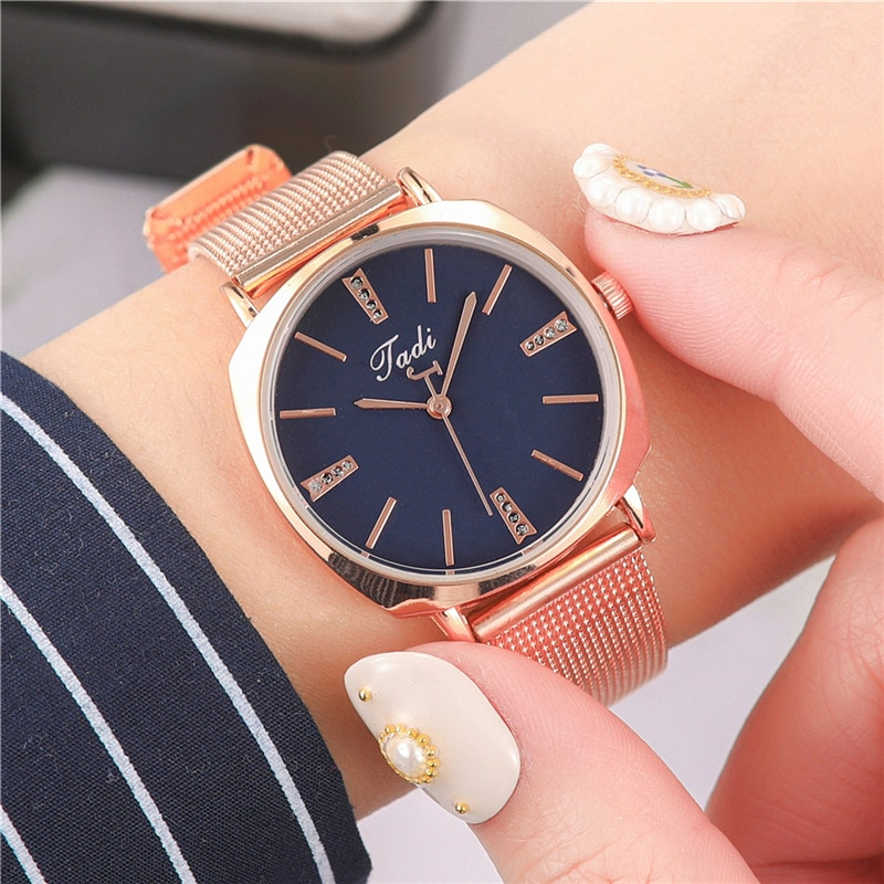 YUNAO Explosive Diamond-studded Men's and Women's Watch High-end Fashion Mesh Band Student Quartz Watch enlarge