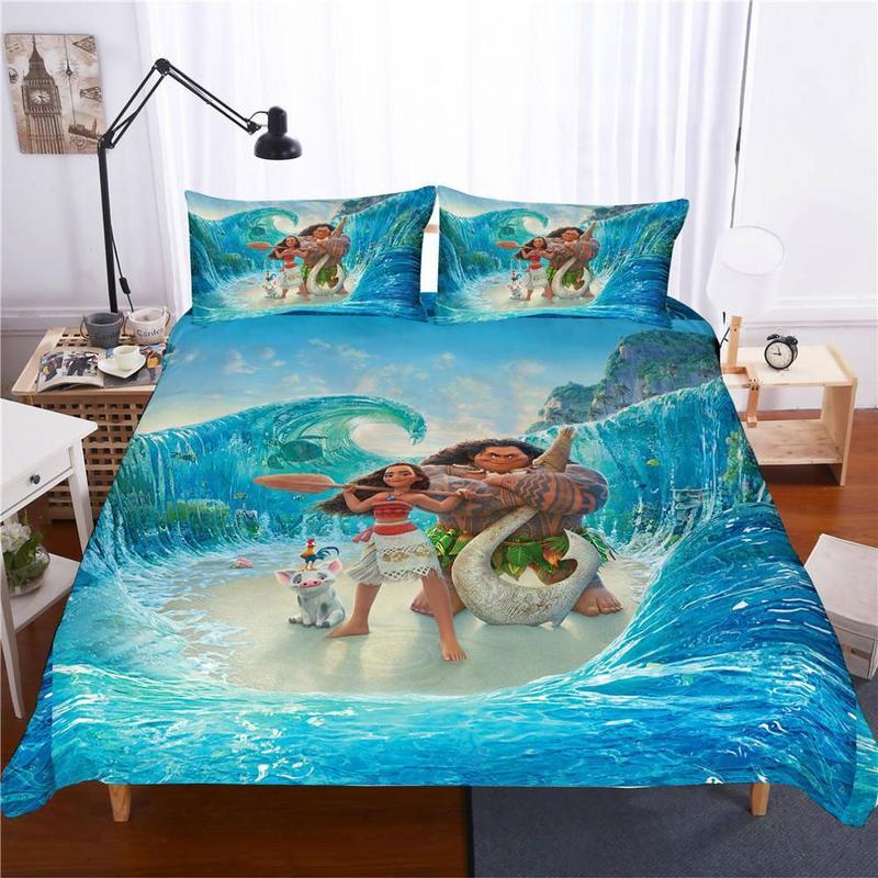 ديزني Moana طقم سرير حاف الغطاء واحد التوأم الملك الحجم نوم الديكور الكرتون صبي الفتيات سرير أطفال هدايا