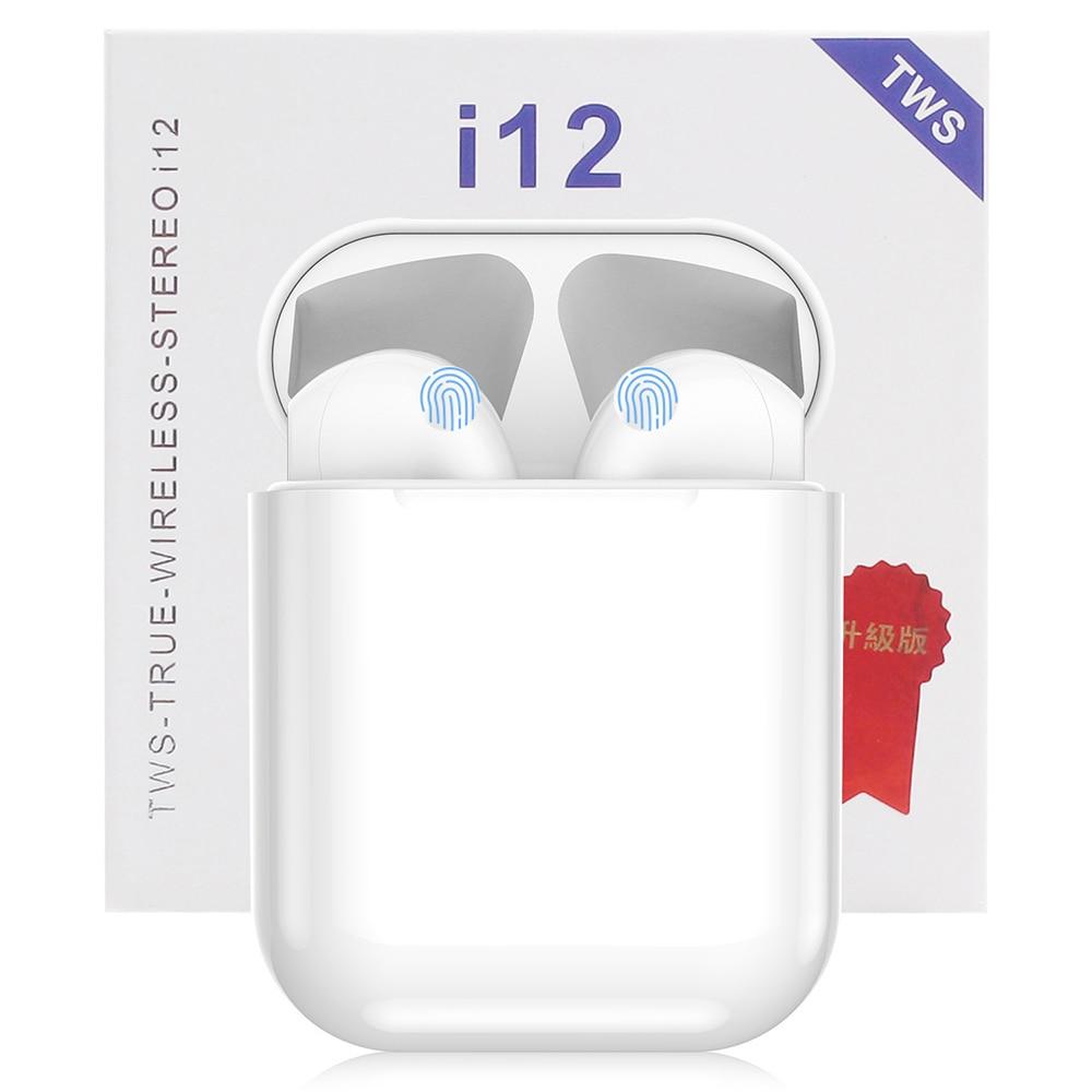 Auriculares inalámbricos i12 TWS, miniauriculares Bluetooth 5,0 estéreo deportivos para iPhone Android Phone I12 Tws, auriculares manos libres